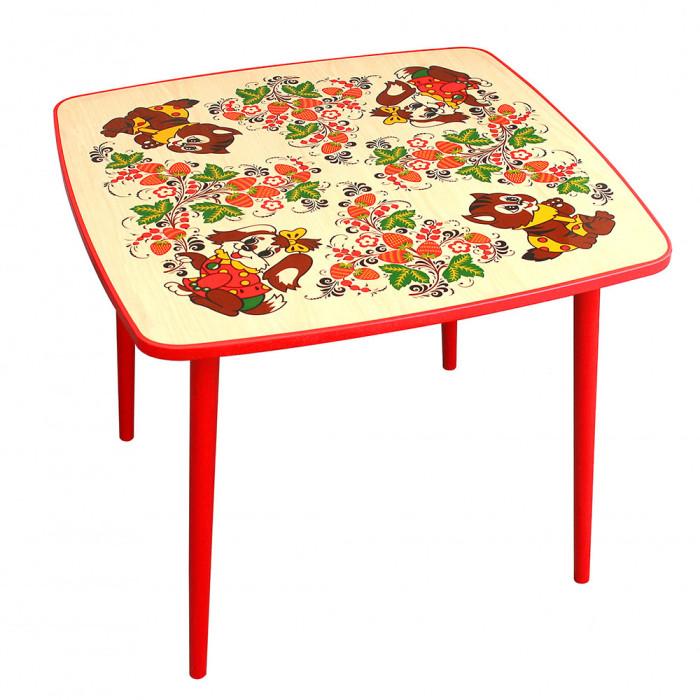 Купить Детские столы и стулья, Хохлома Стол квадратный Осень с росписью зверьки (высота 46 см)