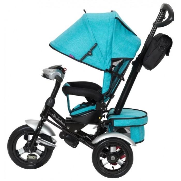 Велосипед трехколесный Mr Sandman CruiserCruiserВелосипед трехколесный Mr Sandman Cruiser с ручкой толкателем и капюшоном на больших надувных колесах с музыкальной панелью.  Особенности: большие надувные колёса (12 и 10 дюймов); ручка управления движением позволяет родителям одной рукой контролировать       поездку и управлять велосипедом;   защитный разъёмный поручень;  складывающиеся подножки;  складывающийся двух сегментный капюшон со смотровым окошком;  спинка с регулировкой угла наклона, 3 положения;  удобные не проскальзывающие педали из рифленого пластика;  телескопическая металлическая ручка;  хромированные пластиковые диски;  эргономичное и удобное сиденье;  пятиточечные ремни безопасности возможность блокировки задних колес (тормоз);  тканевая багажная корзина для вещей и игрушек;  музыкальная панель (свет, звук);  крылья пластиковые на переднем и задних колесах  ткань лен LED фара фиксация поворота руля дополнительный кармашек для мелочей, который крепится на ручке управления.  ширина колесной базы 54 см<br>