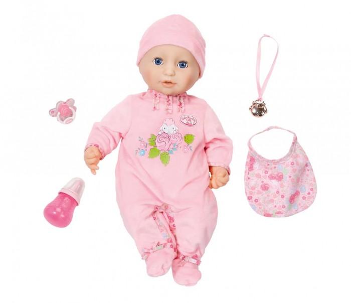 Zapf Creation Baby Annabell Кукла многофункциональная 43 смBaby Annabell Кукла многофункциональная 43 смZapf Creation Baby Annabell Кукла многофункциональная 43 см приведет в восторг маленьких девочек своей реалистичностью! Кукла-пупс выглядит как настоящий ребенок, с ней очень интересно играть в дочки-матери. Удивительная игрушка обладает живой мимикой. Если прикоснуться к щечке, куколка зевнет и закроет глазки.   Кукла пьет и сосет соску, двигая ртом. Писает при нажатии на пупочек. Она плачет настоящими слезами, срыгивает и лепечет. А если малышку покачать, она уснет.<br>