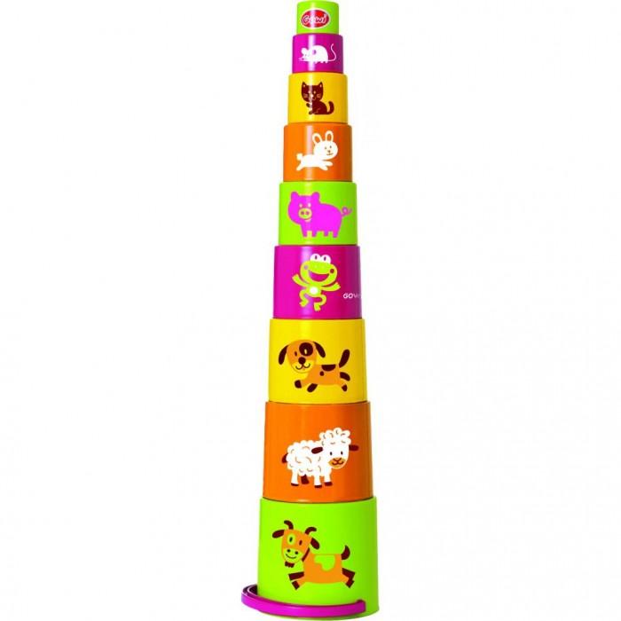 Развивающая игрушка Gowi Ведерко-пирамидка звери 9 предметов