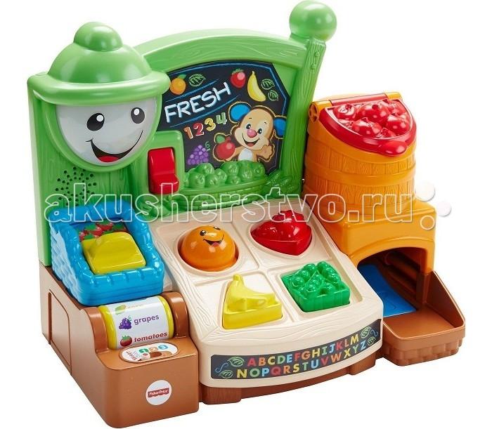 Fisher Price Mattel Магазин с фруктами с технологией Smart StagesMattel Магазин с фруктами с технологией Smart StagesFisher Price Mattel Магазин с фруктами с технологией Smart Stages  Обучающий прилавок Веселые фрукты из серии Смейся и учись от производителя Fisher-Price - это развивающая игрушка для малышей, которая позволит в игровой форме улучшить память, моторику, логику ребенка, умение правильно говорить и слушать.   Яркие и насыщенные краски игрушки способствуют тренировке зрения.   В наборе большое количество звуков, фраз и веселых песенок, которые помогут ребенку выучить первые слова, запомнить название фруктов, различать цвета.   Можно сортировать фрукты, крутить ролик с их названием, включать и выключать подсветку и совершать другие увлекательные манипуляции с игрушкой.   Все это функциональное многообразие делает игровой процесс еще более интересным и захватывающим для малыша.  Набор работает по технологии Smart Stages. На 1-м уровне игрушка развивает любознательность ребенка. На 2-м уровне ваш малыш учится реагировать на просьбы. На 3-м уровне игрушка мотивирует играть определенную роль.  Батарейки: 3ААА (3 мизиньчиковые батарейки)<br>