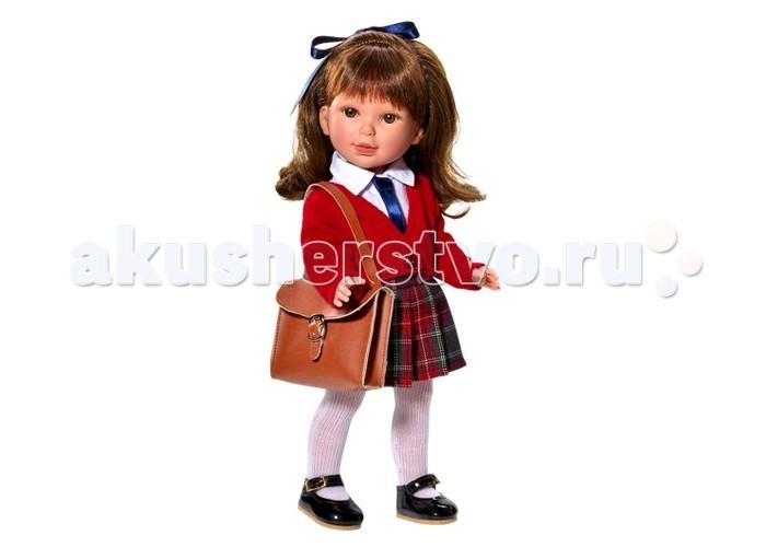 Vestida de Azul Паулина брюнетка с челкой волна ШкольницаПаулина брюнетка с челкой волна ШкольницаVestida de Azul Паулина брюнетка с челкой волна Школьница в стильном наряде: светлая блузка с галстуком, красный вязаный жакет, юбка-шотландка, практичная сумка, белые колготки, а также классические лаковые туфельки.   У куклы очень приятное и милое личико: щечки с легким румянцем, слегка вздернутый носик, пухлые губки и выразительные глаза с длинными ресницами, наклеенными вручную, которые выглядят как настоящие. Длинные волосы куклы густо прошиты и напоминают натуральные. Челка прошита отдельно, а значит всегда будет красиво уложенной.  Девочка сможет попробовать себя в роли парикмахера и создавать разнообразные прически, развивая креативность.  Кукла изготовлена из плотного гипоаллергенного винила высокого качества, и самостоятельно стоит. Подвижные руки, ноги и голова для незабываемой реалистичной игры. Рост куклы - 33 см.  В наборе: кукла Паулина комплект одежды<br>