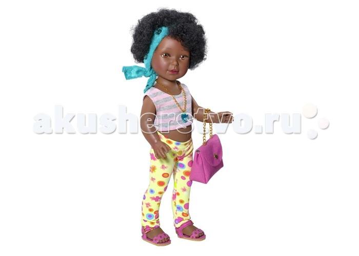 Vestida de Azul Паулина африканка Лето ДискоПаулина африканка Лето ДискоVestida de Azul Паулина африканка Лето Диско темнокожая красавица  в стильном наряде: топ в полоску, яркие леггинсы, розовые босоножки, модная сумка и оригинальная цепочка с кулоном. Яркий летний образ в стиле диско поможет сформировать вкус ребенка с самых ранних лет.  Особенности: Личико Паулины очень милое: щечки с легким румянцем, слегка вздернутый носик, пухлые губки и выразительные глаза с длинными ресницами, наклеенными вручную, которые выглядят как настоящие  Длинные волосы куклы густо прошиты и напоминают натуральные  Челка прошита отдельно, а значит всегда будет красиво уложенной  Девочка сможет создавать самые восхитительные и оригинальные прически и укладки, что к тому же развивает креативность и фантазию Кукла изготовлена из плотного гипоаллергенного винила высокого качества, и самостоятельно стоит Подвижные руки, ноги и голова для незабываемой реалистичной игры  Рост куклы - 33 см. В наборе: кукла Паулина комплект одежды<br>