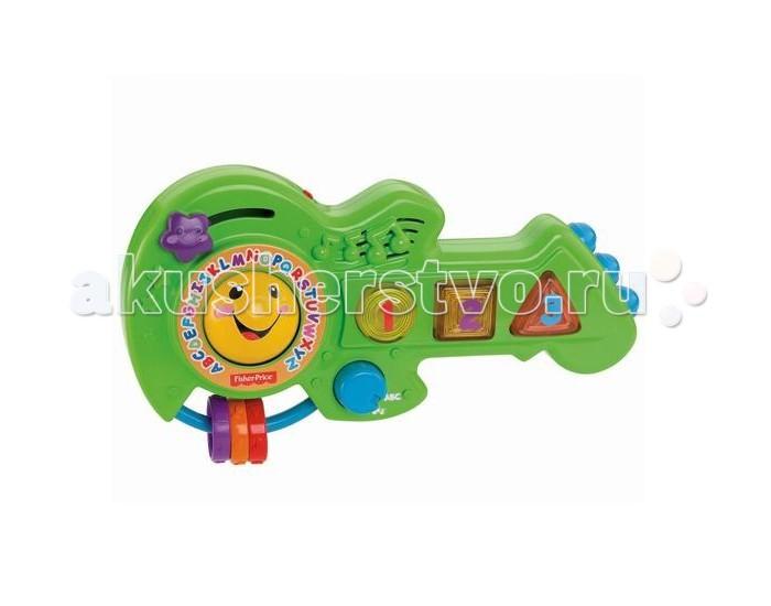 Музыкальная игрушка Fisher Price Обучающая гитараОбучающая гитараОбучающая музыкальная гитара из серии Смейся и учись от Fisher Price - восхитительная развлекательная игрушка для юных меломанов и прекрасный выбор для ребенка от года.  Красочная увлекательная гитара состоит их множества развивающих элементов, с помощью которых ваш ребенок будет изучать цвета и формы, буквы и числа, развивать зрительное и звуковое восприятие. На ярком зеленом корпусе гитары расположено множество светящихся кнопок, 3 ярких колечка на дуге и двигающаяся звездочка. Нажимая на кнопочки ваш малыш услышит более 25 вариантов веселых мелодий и песенок, в такт которым он сможет подпевать и двигаться. Изображения букв и цифр на кнопках барабана поможет в игровой форме начать изучение алфавита и чисел.  Эксперты по разработке игрушек Fisher Price создали развивающую музыкальную гитару, принцип игры на которой формирует причинно следственные связи у ребенка, развивает слуховую и зрительную координацию, моторику ручек, фантазию и воображение.  Музыкальная гитара Смейся и учись изготовлена из высококачественных нетоксичных материалов. Гитара продается в яркой красочной упаковке. Питание: требуется 2 батарейки типа АА.<br>