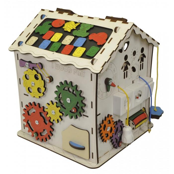 Деревянная игрушка Iwoodplay Развивающий домик с электрикой (блоком светоиндикации)
