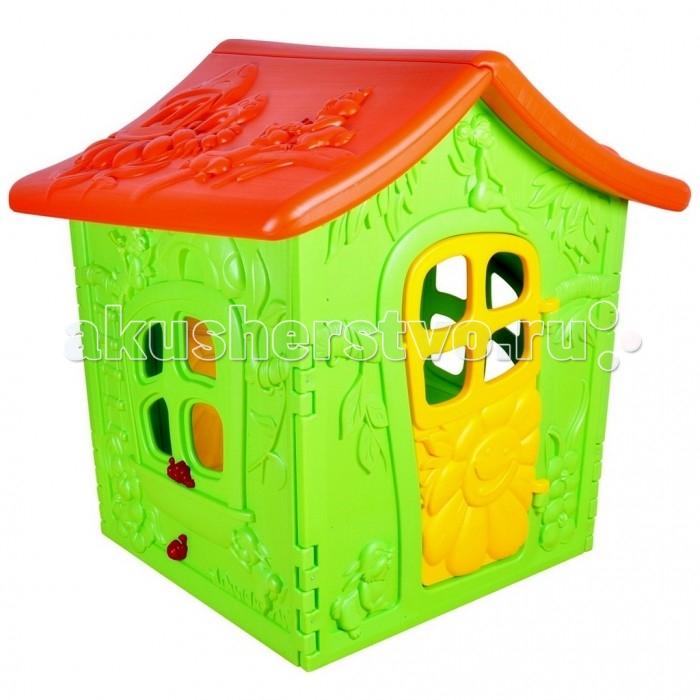 R-Toys Дом игровой GeburtДом игровой GeburtR-Toys Дом игровой Geburt изготовленный из прочного пластика,  порадует прочностью и устойчивостью конструкции. Аккуратная покатая крыша защитит от солнца и дождя. Интересный дизайн дверей и окон наводит на ассоциации с домиком из волшебной сказки. Домик декорирован листочками и цветами, очаровательная Тинкер над дверью и зайчики помогут создать нужное настроение, сделав сказку реальностью!  Особенности: для детей от 1,5 лет прочный пластик устойчивая конструкция покатая крыша защитит от солнца и дождя без металлических и стеклянных элементов<br>