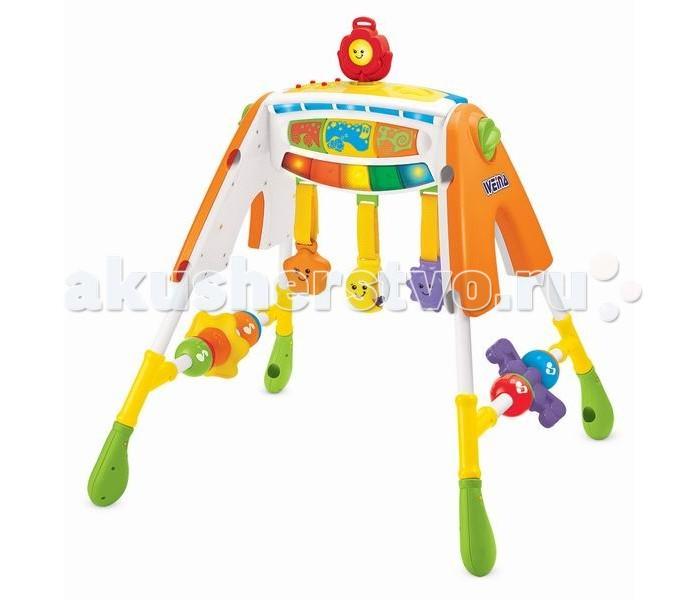 Игровой центр Weina Многофункциональный 4 в 1Многофункциональный 4 в 1Многофункциональный развивающий центр для малыша 4 в 1 со звуковыми и световыми эффектами для самых маленьких.   Эта многофункциональная игрушка включает: музыкальную карусель, ночник, музыкальный центр с игрушками (можно менять), клавиатуру.   Музыкальная карусель и ночник Для новорожденного. Приятная музыка музыкальной карусели и не яркий свет помогут успокоить малыша и настроят на сон. Конструкция может крепиться к кроватке или стоять отдельно.   Игровой музыкальный центр Для малышей от 3 месяцев. Музыкальный центр представляет собой турник, на котором располагаются различные игрушки. Их можно рассматривать и трогать. Также можно включить функцию музыки.   Клавиатура Когда ребенок научится хорошо сидеть, игрушку можно преобразовать в музыкальную клавиатуру. При нажатии на кнопки будет звучать музыка, включатся световые эффекты.   Игрушка прослужит долгое время, пока растет ребенок.  Особенности: Подходит для детей от рождения Включает в себя 4 функции Музыкальная карусель может крепиться к кроватке или стоять на полу Преобразуется в клавиатуру Для работы нужны 3 батарейки AA (1.5 В), не входят в комплект<br>