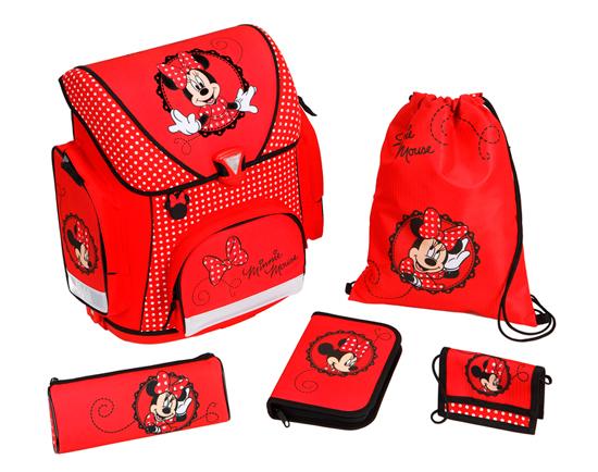 Scooli Портфель с наполнением Minnie Mouse (5 предметов)Портфель с наполнением Minnie Mouse (5 предметов)Undercover Портфель с наполнением Minnie Mouse (5 предметов) будет сопровождать его всегда и везде! Ведь великолепный портфель и многочисленные школьные принадлежности, входящие в комплект, с изображением именно этого прекрасного героя!  Чудесный ранец изготовлен из высококачественного, водоотталкивающего материала, имеет прочную, каркасную конструкцию, а также пластиковое дно для предотвращения деформации ранца. Приобретая этот комплект, вы мгновенно освобождаетесь от многочисленных забот, связанных с подготовкой вашего ребенка к школе!  Особенности: В ранце обнаружите 3 замечательных кармана, каждый из которых очень вместительный.  Для дополнительного удобства вашего ребенка при носке рюкзака предусмотрена мягкая спинка со вставками из воздухообменной сетки, а также регулируемые лямки с системой вентиляции.   В комплекте: Портфель Пенал с многочисленными письменными принадлежностями (1 простой карандаш, 8 цветных карандашей, 5 цветных фломастеров с вентилируемыми колпачками, пластиковая линейка 16 см, пластиковая линейка в форме треугольника, точилка, ластик) Пенал-косметичка, который можно использовать по разному назначению Детский кошелек, куда будут вложены деньги для похода в столовую  Сумка для сменной обуви  Размеры: Размер рюкзака: 37 х 41 х 20 см Размер пенала-косметички: 22 х 8.5 х 4.5 см Размер кошелька: 13 х 9 см Размер сумки для сменной обуви: 37 х 28.5 см<br>