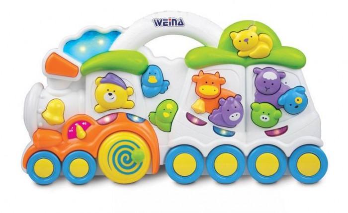 Weina Любимый паровозикЛюбимый паровозикКрасочная игрушка выполнена в форме паровозика, на котором едут животные.   На игрушке есть множество кнопочек, при нажатии на которые ребенок услышит мелодии, звуки, голоса животных в сопровождении с мигающим светом. Яркие цвета игрушки обязательно поднимут настроение Вашему малышу.  Развитие навыков. Игрушка поможет развить у ребенка музыкальный слух и расширит его кругозор, познакомив с голосами животных. Нажатие на маленькие кнопки способствует развитию мелкой моторики.  Особенности: Развивающая игрушка со звуковыми и световыми эффектами Нажимая на фигурки животных, ребёнок услышит их голоса Если повернуть большое колесо паровоза, послышится звук чух-чух Труба паровоза имитирует звуки поезда Если нажать на машиниста-медвежонка, заиграет музыка Батарейки: 2 шт. типа АА (входят в комплект)<br>