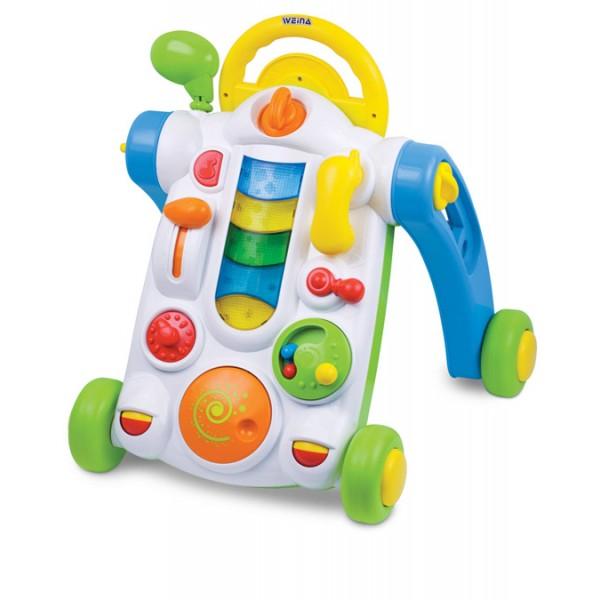 Ходунки Weina Первые шагиПервые шагиПервые шаги - это оригинальные ходунки с рулём для малышей, которые только-только начали делать свои первые шаги. Подойдут для тех, кто только-только начал делать свои первые шаги. В то же время они послужат развивающей игрушкой для детей, которые уже умеют ползать, благодаря яркой электронной панели со звуковыми и световыми эффектами.   В сложенном состоянии игрушку можно положить на пол, и малыш будет играть лёжа на животе, а если ребёнок захочет пройтись, только разложите её, и она превратится в удобные ходунки. Такая игрушка надолго заинтересует Вашего малыша и станет ему прекрасным подарком.  Развитие навыков. Игрушка развивает чувство равновесия, поощряет малыша к новым исследованиям и открытиям. Игра с электронной панелью способствует развитию мелкой моторики. Звуковые эффекты и погремушки развивают слух у ребенка.  Особенности: Ходунки со звуковыми и световыми эффектами На передней части каталки расположена электронная развивающая панель Складная конструкция Регулировка громкости звука Тормозные фиксаторы на задних колёсах Изделие выполнено из высококачественного ударопрочного пластика Батарейки: 2 шт. типа АА (входят в комплект)<br>