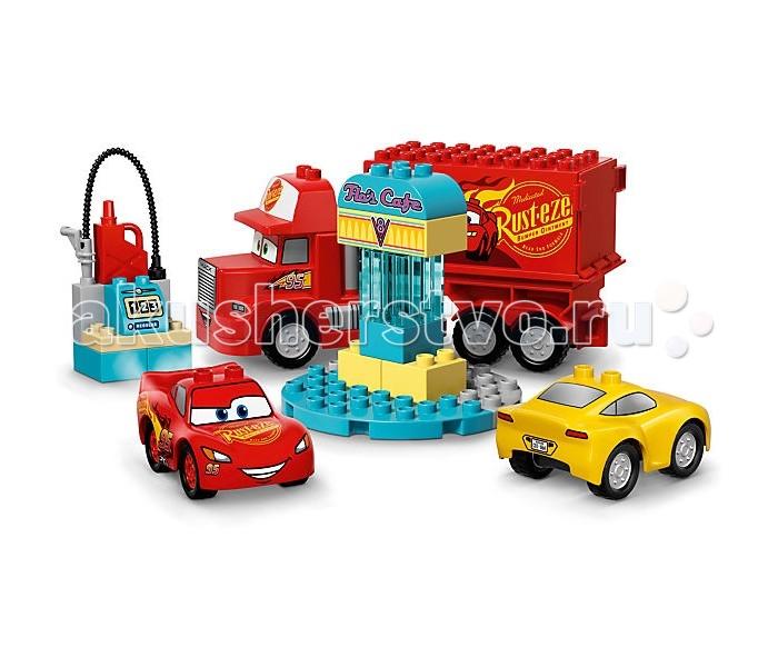 Конструктор Lego Дупло Кафе Фло 28 элементовДупло Кафе Фло 28 элементовКонструктор Lego Дупло Кафе Фло 28 элементов 10846  предлагает ребенку собрать заправку для персонажей анимационного фильма Тачки 3. Молния МакКуин, Крус Рамирес и Мака смогут заехать на эту бензоколонку и заправиться, чтобы набраться сил для разных занимательных игр. С таким набором ребенок сможет воспроизвести понравившуюся сценку из этого мультфильма, или же придумать для героев новые приключения.   При изготовлении элементов набора использовался только качественный, лишенный токсичных примесей пластик, поэтому игрушка полностью безопасна для детей.  Размер собранного кафе: 13 x 12 x 6 Размер собранного Молнии Мак Куина: 5 х 9 х 6 см Размер собранного Круса Рамиреса: 5 х 9 х 6 см Размер собранного Мака: 12 х 26 х 7 см<br>