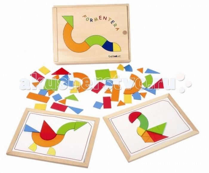 Развивающая игрушка Beleduc ФорментераФорментераBeleduc Развивающая игра Форментера - интересная и качественная игра для детей, предназначена развить у ребенка визуальное и тактильное восприятие в то время как он складывает вместе фигуры разнообразной формы, составляя из них изображение или целую картину. Различные уровни сложности игры увеличивают эффективность обучения и развивают воображение. В этой игре с помощью карточек с заданиями игрокам необходимо дополнить изображения, наложив на карточку подходящую форму. Разные уровни сложности повышают уровень развития ребенка.  Состав набора: деревянная коробка с выдвижной крышкой 37 х 28 х 7.5 см 2 рамки 48 фигур с магнитами 28 листов с изображениями Особенности:  игрушка выполнена из экологически чистого материала - имеет гладкую, отполированную поверхность окраска нетоксичными и не содержащими вредных веществ красками на водной основе<br>