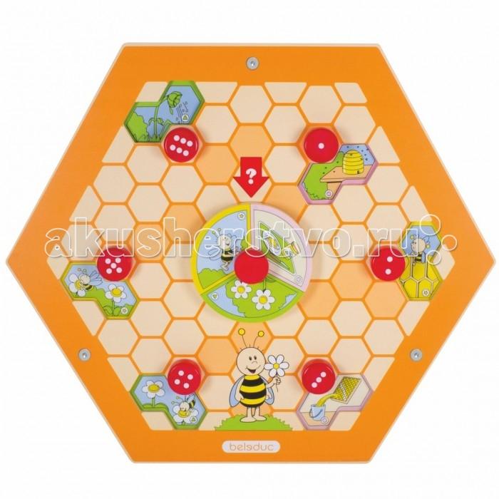 Деревянная игрушка Beleduc Настенный игровой элемент Пчелы.ПриродаНастенный игровой элемент Пчелы.ПриродаBeleduc Настенный игровой элемент Пчелы.Природа станет чудесным развлечением для Вашего любознательного малыша или малышки.   Выполняя игровое задание этого развивающего настенного элемента, Ваш юный исследователь сможет ознакомиться с интересными фактами происхождения вкусного лакомства - мёда! Элемент развивает фантазию, даёт первые знания о природе и стимулирует речевую активность.  Изготовлен игровой элемент из экологически чистого материала - дерева, покрытого натуральным лаком. Поверхность элемента гладкая, приятная на ощупь. С помощью надежных креплений элемент можно установить на стене.  Размеры: 57,7 х 50 см<br>