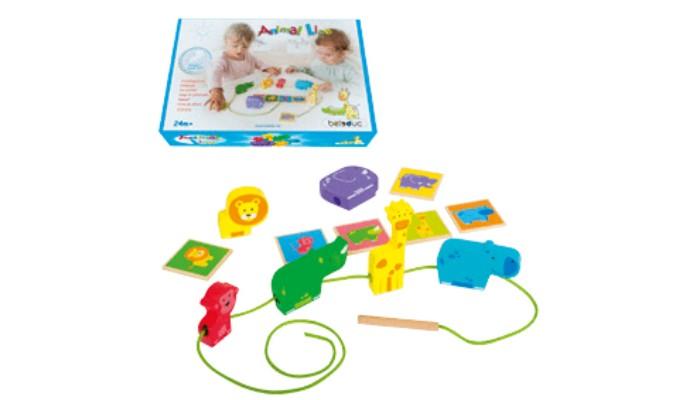 Деревянные игрушки Beleduc Развивающая игра-шнуровка Животные