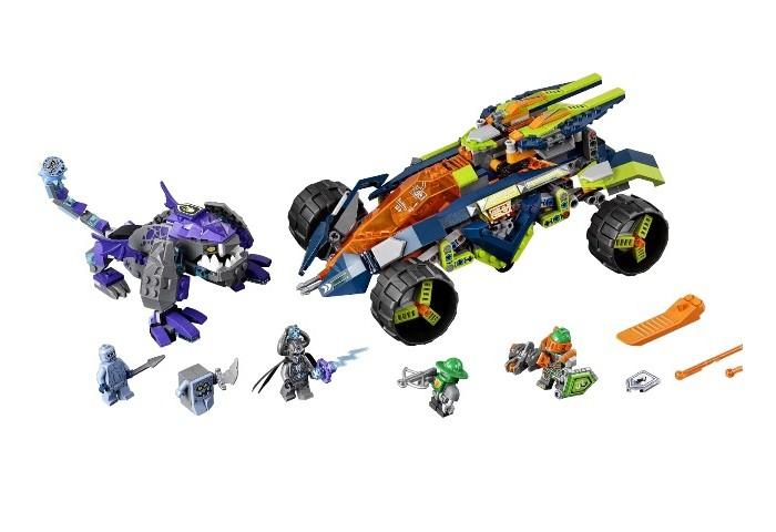 Конструктор Lego Нексо Вездеход Аарона 4x4 598 элементовНексо Вездеход Аарона 4x4 598 элементовКонструктор Lego Нексо Вездеход Аарона 4x4 598 элементов 70355 – это уникальное сочетание всего того, что так нравится мальчикам: эпохи рыцарей и эры роботов и технологий.  Отважный рыцарь Аарон вместе со своим верным роботом несется на своей боевой машине в атаку – впереди приготовились к бою каменные демоны, каменный солдат и Брикстер. Казалось бы, мощных и обычных врагов больше в два раза, но храбрый Аарон так не думает, ведь его необычный транспорт оборудован несколькими пушками, которые изменяют свое положение, поднимаясь над корпусом машины, массивными колесами; автомобиль имеет большой дорожный просвет и хорошо защищенную кабину пилота. В набор входит оранжевый сепаратор деталей для удобства сборки.<br>