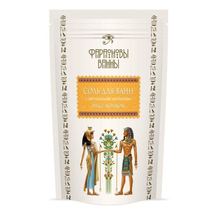 Соли и травы для купания Фараоновы ванны Соль для ванн с экстрактом прополиса Мед с молоком 500 г соль для ванн малавит флора берёза 500 г