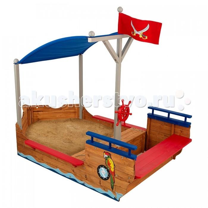 KidKraft Песочница Пиратская лодкаПесочница Пиратская лодкаKidKraft Песочница Пиратская лодка имеет необычную форму, напоминающую настоящий корабль.   Он поделен на две условные части. Первая – песочница со скамейками, на которых можно с удобством разместиться во время игры в песке. Кроме того, если их снять, ты вы найдете вместительные ящики для игрушек и прочего инвентаря Вторая – палуба, на которой осуществляется управление кораблем. Для этого имеется вращающийся штурвал Большой синий парус защищает корабль и находящихся на его борту детей от прямых солнечных лучей Корабль декорирован пиратскими рисунками и красным флагом с ножами. Песочница изготовлена из высококачественных пород древесины. Этот материал является экологически чистым и абсолютно безопасным для ребенка. Особенности: Возраст: от 2 лет. Размеры песочницы: 200 x 113 x 151 см. Вес песочницы: 26 кг.<br>