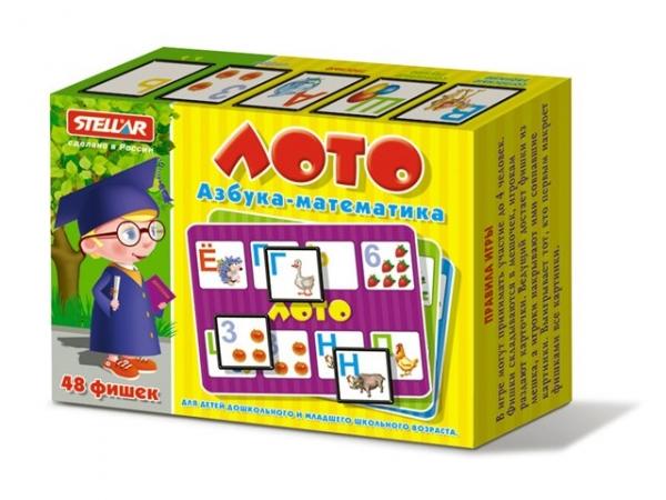 Настольные игры Стеллар Лото Азбука Математика настольные игры стеллар лото для девочек