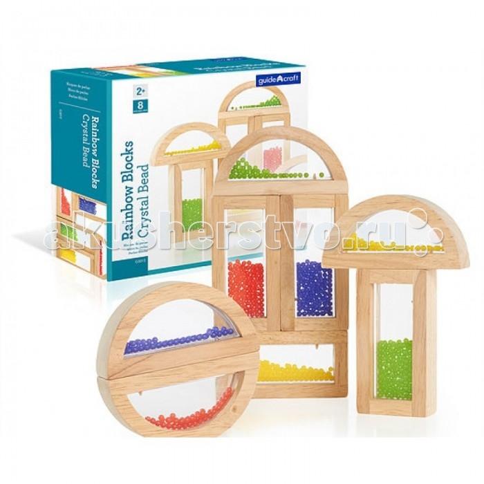 Деревянная игрушка Guidecraft Сортер Rainbow Blocks - Crystal BeadСортер Rainbow Blocks - Crystal BeadGuidecraft Сортер Rainbow Blocks - Crystal Bead Радужные блоки - кристальные бусинки, малыш может сортировать блоки по цвету и форме, составлять из них конструкции, в том числе и подвижные благодаря полукруглым блокам. Разноцветные бусинки свободно пересыпаются внутри блоков-рамок, увлекая в процессе малыша. Блоки-рамки сделаны из экологически чистой, гладкои&#774; древесины твердых пород, со вставками из безопасного прозрачного цветного акрила. Блоки совместимы со стандартными блоками серии по размерам.   В набор входит 4 прямоугольных и 4 полукруглых блока.  Возраст 2+.<br>