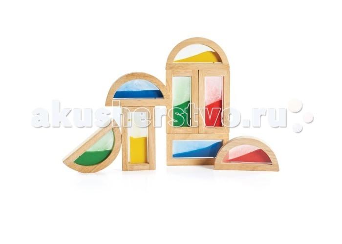 Деревянная игрушка Guidecraft Сортер Rainbow Blocks - SandСортер Rainbow Blocks - SandGuidecraft Сортер Rainbow Blocks - Sand Радужные блоки - пески, малыш может сортировать блоки по цвету и форме, составлять из них конструкции, в том числе и подвижные благодаря полукруглым блокам. Блоки-рамки сделаны из экологически чистой, гладкои&#774; древесины твердых пород, со вставками из безопасного прозрачного цветного акрила.   Пространство внутри блока заполнено цветным песком, для более ярких впечатлений от игры. Блоки совместимы со стандартными блоками серии по размерам  В набор входит 4 прямоугольных и 4 полукруглых блока Возраст 2+.<br>