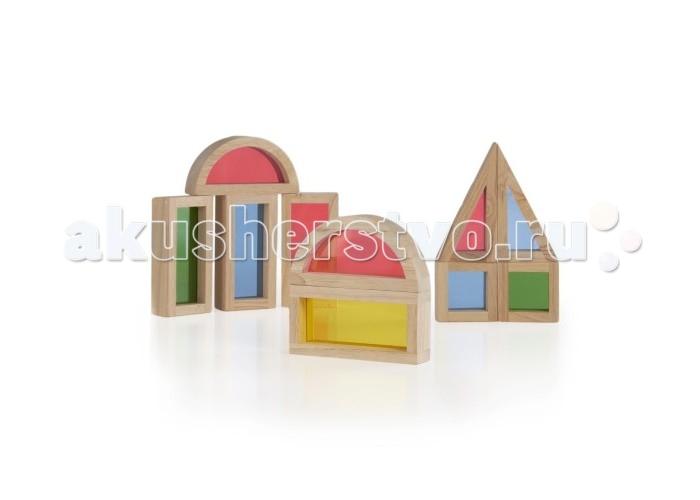 Деревянные игрушки Guidecraft Сортер Rainbow Blocks - Радужные блоки набор 10 деталей пружинные блоки в тюмени