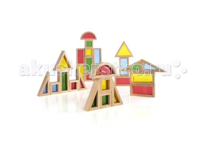 Деревянные игрушки Guidecraft Сортер Rainbow Blocks - Радужные блоки набор 30 деталей пружинные блоки в тюмени