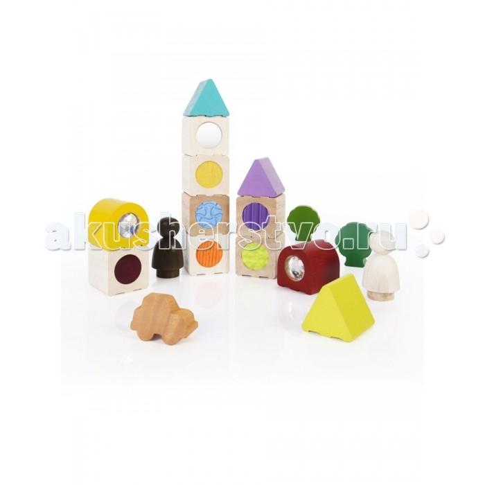 Деревянные игрушки Guidecraft Сортер пирамидка Sensory сенсорные блоки