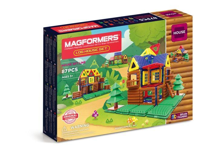Конструктор Magformers Магнитный Log House Set (87 деталей)Магнитный Log House Set (87 деталей)Magformers Магнитный конструктор Log House Set - это развивающий магнитный конструктор нового поколения. Данный набор выделяется необычными для остальных наборов аксессуарами. В этот набор входят магнитные детали и бревенчатые аксессуары, которыми можно украсить модели Магформерс и собрать разнообразные деревянные домики. А с помощью вставок с зеленой травой и деревьев можно создать настоящую лесную поляну с деревянной избой на опушке.  Магниты укреплены внутри деталей особым образом, который позволяет им поворачиваться друг к другу нужной стороной. В результате детали всегда притягиваются, и строить из них легко и удобно. В конструкторе используются самые сильные в мире неодимовые магниты, они повышают прочность построек.  Конструктор обладает уникальным развивающим потенциалом и подходит для игры и занятий с самого раннего возраста. Конструктор развивает интеллект и воображение ребенка.Работа с деталями улучшает мелкую моторику, а постройка объемных фигур развивает пространственное и абстрактное мышление. Возможности для раскрытия творческих способностей ребенка с Магформерс практически безграничны: из магнитных деталей можно собрать самые невероятные и фантастические модели.  Детали конструктора изготовлены из очень прочного и эластичного пластика, который нелегко сломать и взрослому человеку. Ваш ребенок не поранится острыми краями обломков и не доберется до маленьких магнитов внутри!    Играть с таким конструктором весело и безопасно!  Состав: 87 деталей<br>