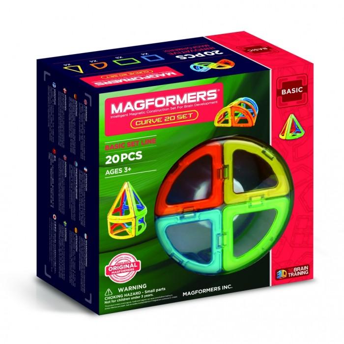 Конструктор Magformers Магнитный Curve (20 деталей)Магнитный Curve (20 деталей)Magformers Магнитный конструктор Curve 20 - это развивающий магнитный конструктор нового поколения. Особенность данного конструктора изогнутость линий, что помогает создавать интересные объёмные модели со скругленными контурами. Арки, секторы, конусы – вот что нужно для создания цилиндрических, конусообразных и шаровидных фигур. С чего начать игру, подскажет красочная брошюра, входящая в состав набора. От простого конуса и цилиндра маленькие строители перейдут к созданию туннеля, хижин и домиков с красивыми конусообразными крышами, посадят тюльпан или пустят ползать по полу гусеницу. Казалось бы, всего 20 деталей, а столько разнообразных комбинаций можно придумать!  Магниты укреплены внутри деталей особым образом, который позволяет им поворачиваться друг к другу нужной стороной. В результате детали всегда притягиваются, и строить из них легко и удобно. В конструкторе используются самые сильные в мире неодимовые магниты, они повышают прочность построек.  Конструктор обладает уникальным развивающим потенциалом и подходит для игры и занятий с самого раннего возраста. Конструктор развивает интеллект и воображение ребенка, математические способности и логику, память и внимание. Работа с деталями улучшает мелкую моторику, а постройка объемных фигур развивает пространственное и абстрактное мышление. Возможности для раскрытия творческих способностей ребенка с Магформерс практически безграничны: из магнитных деталей можно собрать самые невероятные и фантастические модели.  Детали конструктора изготовлены из непрозрачного пластика, который нелегко сломать и взрослому человеку. Ваш ребенок не поранится острыми краями обломков и не доберется до маленьких магнитов внутри!    Играть с таким конструктором весело и безопасно!  Состав: 20 деталей<br>