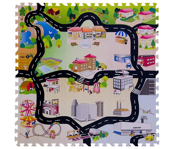 Игровые коврики FunKids Город-2 пазл 12 с дорогами игровые коврики funkids пазл сенс 12 без изображений рельефная текстура
