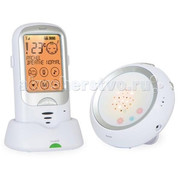 Ramili Радионяня RA300Радионяня RA300Радионяня Ramili Baby Digital Baby Monitor RA300 включает в себя множество полезных, потрясающих возможностей, обеспечивающих высоким комфорт при использовании в повседневной рутине: сенсорный дисплей, автоматическое определение плача ребенка, двустороннюю связь, великолепный ночник с возможностью проецирования симпатичных звезд и многое другое.   Дальность 650 метров. Двухсторонняя связь.  Ночник.  Сенсорный дисплей с диагональю 2,7 Двусторонняя связь Кристально чистый звук Термометр.  Цифровая технология связи.  Отсутствие излучения.  Колыбельные на отдельном блоке с дистанционным управлением Зарядная база для родительского блока.  Активация голосом.  Оба блока могут работать без подключения к розетке: родительский от аккумулятора, детский от обычных батареек.  Возможно подключение монитора дыхания Ramili.  Возможно подключение до 4-х детских блоков.   Дополнительно: Проектор звездного неба. Ночничок одновременно является и замечательным проектором звездного неба и светится тремя разными цветами. При горизонтальном расположении детского блока звезды проецируются га потолок. С помощью удобной подставки, которая встроена в заднюю панель, детский блок можно установить в вертикальном положении и направить проекцию на стену. Ночник-проектор может работать независимо от родительского как полноценный ночник, который включается автоматически на звук и/или вручную. Такая функция окажется очень кстати, когда малыш подрастет, а в радионяне необходимости больше не будет. Подключение нескольких детских блоков. К радионяне Ramili Baby RA300 можно одновременно подключить до 4 детских блоков. При обнаружении звука или срабатывании монитора дыхания (при наличии в комплекте) на любом из блоков, радионяня автоматически переключается на этот детский блок и оповещает родителей о тревожной ситуации. Удобно и то, что каждому из детских блоков можно собственное имя. Вибросигнал. Такая функция очень удобна, если родителям требуется обеспечить тишину и 