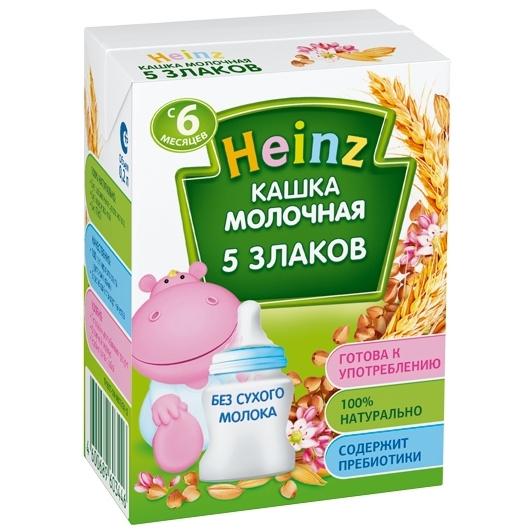 Каши Heinz Жидкая Молочная Готовая многозерновая каша из 5 злаков с 6 мес. 200 мл каша готовая молочная heinz овсяная с 6 мес 200 мл