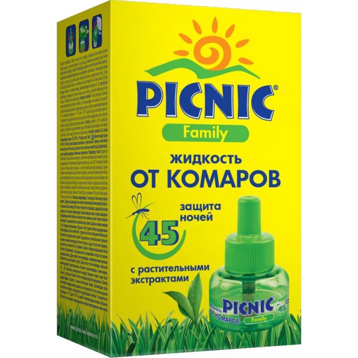 Средства от насекомых Picnic Family Жидкость от комаров для фумигатора 45 ночей 30 мл средства от насекомых picnic family акарицидное средство super от клещей 125 мл
