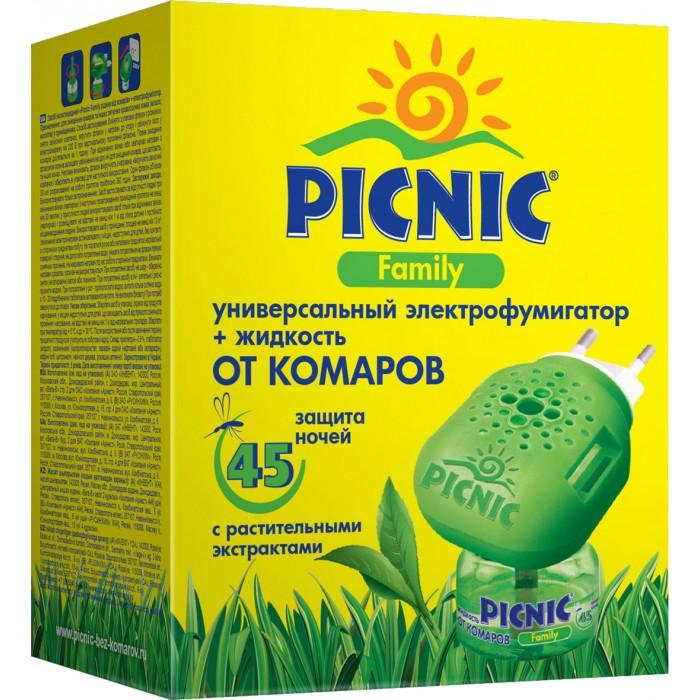 Средства от насекомых Picnic Family Электрофумигатор + 30 мл жидкость от комаров 45 ночей рейд электрофумигатор диффузного типа сменный блок 30 ночей