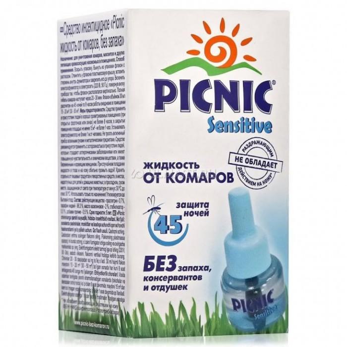 Средства от насекомых Picnic Sensitive Жидкость от комаров 45 ночей 30 мл средства от насекомых picnic крем пенка от комаров 160 мл