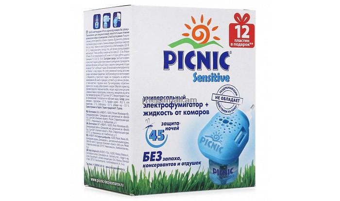 Средства от насекомых Picnic Sensitive Электрофумигатор + жидкость от комаров 45 ночей 30 мл + 12 пластин рейд электрофумигатор диффузного типа сменный блок 30 ночей