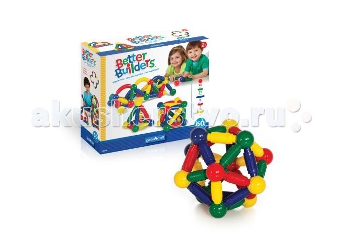 Конструкторы Guidecraft магнитный для малышей Better Builders 60 деталей конструкторы tototoys 801 крутые виражи rollipop 7 деталей 5 шаров