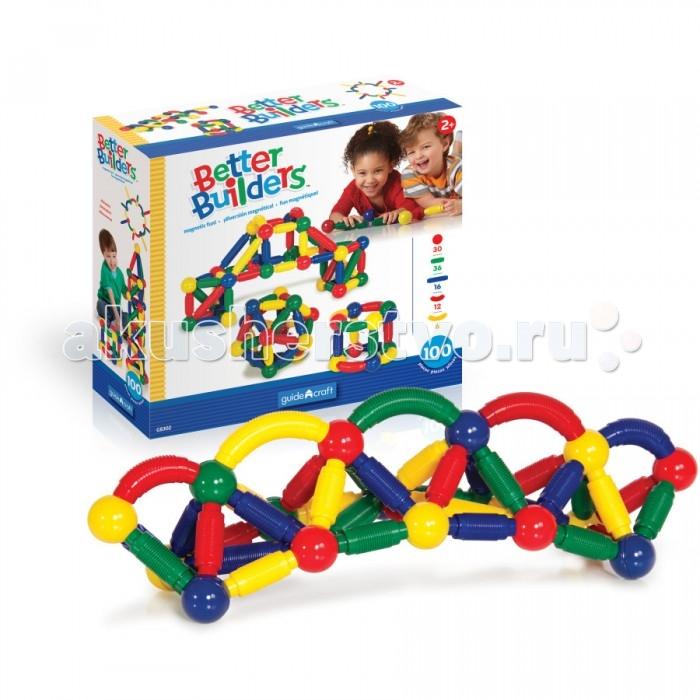 Конструкторы Guidecraft магнитный для малышей Better Builders 100 деталей конструкторы tototoys 801 крутые виражи rollipop 7 деталей 5 шаров