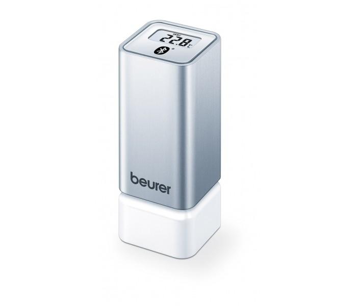 Beurer Гигрометр HM55Гигрометр HM55Beurer Гигрометр HM55 измеряет температуру и относительную влажность воздуха в помещении. Полученные значения отображаются на дисплее.  Особенности: Бесплатное приложение beurer FreshRoom (для Android и iOS) передает значения измерений на смартфон для постоянного анализа и контроля над ними. Измеренные значения передаются по Bluetooth. При синхронизации термогигрометра через приложение на дисплее появляется индикация времени. Затем на дисплее попеременно появляется индикация времени, температуры и относительной влажности воздуха.  В приложении можно задать минимальные и максимальные значения для температуры и относительной влажности воздуха. В этом случае светодиодный индикатор на приборе показывает, что температура и влажность воздуха находятся в пределах установленного диапазона минимальных и максимальных значений (зеленая индикация) или за его пределами (красная индикация).  К приложению beurer FreshRoom можно подключить одновременно до 5 термогигрометров и дать им разные наименования (например, кухня или гостиная). Благодаря небольшим размерам термогигрометр можно установить практически в любом месте.  С обратной стороны термогигрометра имеется приспособление для подвешивания, при помощи которого прибор можно закрепить на стене.<br>