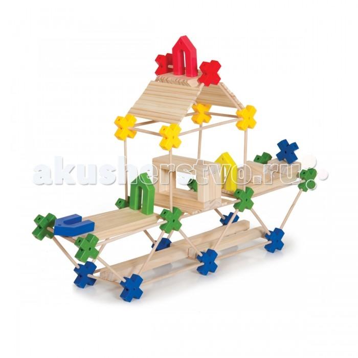 Деревянная игрушка Guidecraft Конструктор Texo 210 деталейКонструктор Texo 210 деталейGuidecraft Конструктор деревянный Texo 210 деталей система 3-х мерного конструирования для детей от известного архитектора Лестера Уокера. В одном наборе сразу несколько игр: простой пазл, сортер по форме и цвету, конструктор с постепенным изменением сложности конструкций от укладки взаимосвязанных форм до строительства мостов, домов и небоскребов.   Пластиковые стержни и балки из дерева твердых пород, в сочетании с геометрически точными пластиковыми коннекторами, раскрывают потенциал архитектора и конструктора. Возраст 3+.<br>