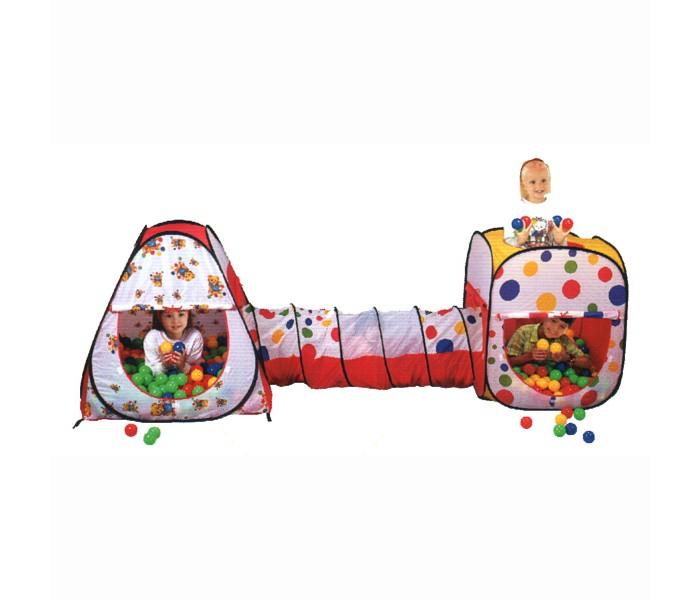 Calida Дом-палатка + 200 шаров (конус+квадрат+туннель)Дом-палатка + 200 шаров (конус+квадрат+туннель)Игровой набор в виде палаточного городка Calida. Состоит из двух домиков, соединенных между собой тоннелем. Замечательный набор на самораскладывающемся каркасе-спирали - отличное место для самостоятельной или групповой сюжетно-ролевой игры. На рассыпанных по палатке шариках приятно полежать, расслабившись, или с удовольствием в них побарахтаться.  Особенности:  размеры домика (см): 90х90х100 размеры треугольного домика (см):104х104х110 размер тоннеля (см): 48х180 материал: домик - нейлон, мячики - пластмасса в комплекте: 200 шаров (синие, желтые, зеленые, красные)<br>