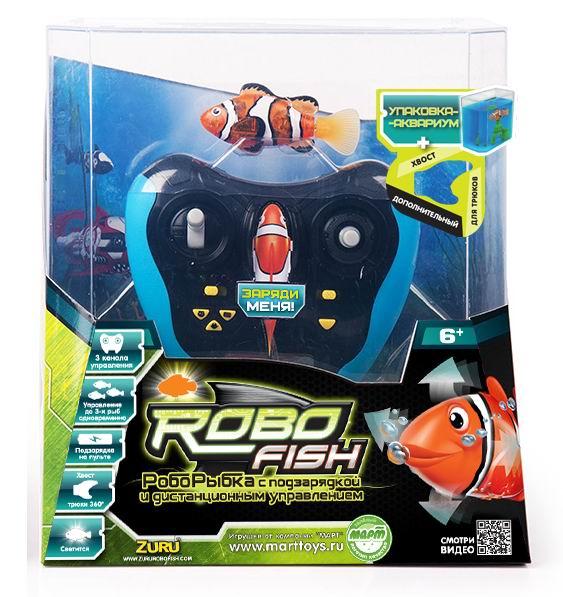 Интерактивная игрушка Robofish РобоРыбка радиоуправляемаяРобоРыбка радиоуправляемаяРадиоуправляемая светодиодная РобоРыбка Robofish может как самостоятельно двигаться под водой как настоящая рыбка, так и управляться с пульта управления. При движении роборыбка мигает встроенным в неё светодиодом, что особенно эффектно смотрится в затемнённом помещении. Частота мигания светодиода зависит от скорости движения роборыбки.  У роборыбки Robofish можно менять хвост. В набор входит дополнительный хвост для трюков, после установки которого Роборыбка станет двигаться более активно, кувыркаться и нырять.  Роборыбка Robofish работает от встроенных аккумуляторных батарей, которые заряжаются от пульта управления. Пульт радиоуправления роборыбкой имеет три радиоканала связи с рыбкой, что позволит одновременно управлять трями рыбками Robofish, одновременно запуская их на водные просторы. Под управлением пульта РобоРыбки смогут двигаться в пяти направлениях - вперёд, вправо, влево, вверх и вниз. Дополнительно, с пульта управления можно переключать скорость движения роборыбки (3 варианта скорости). Время зарядки роборыбки - 15 минут.  Пульт управления имеет 2 режима работы - автоматический и ручной. В автоматическом режиме доступны три варианта игры - Бассейн, Аквариум, Кошка.  Описание автоматических режимов: Бассейн. Роборыбка плавает по большому кругу. Режим подходит для игры в бассейнах и ванне. Аквариум. Рыбка робот плавает по маленькому кругу. Подходит для игры в аквариумах и других небольших ёмкостях с водой. Кошка. Роборыбка двигается, как будто спасается от кошки, которая пытается поймать её своей лапой.  Состав набора: Роборыбка RoboFish светодиодная радиоуправляемая Пульт управления Акробатический хвост - 1 шт. Аквариум - 1 шт.  Объем аквариума 3 л Размер рыбки 8 x 1.8 x 3.8 см<br>