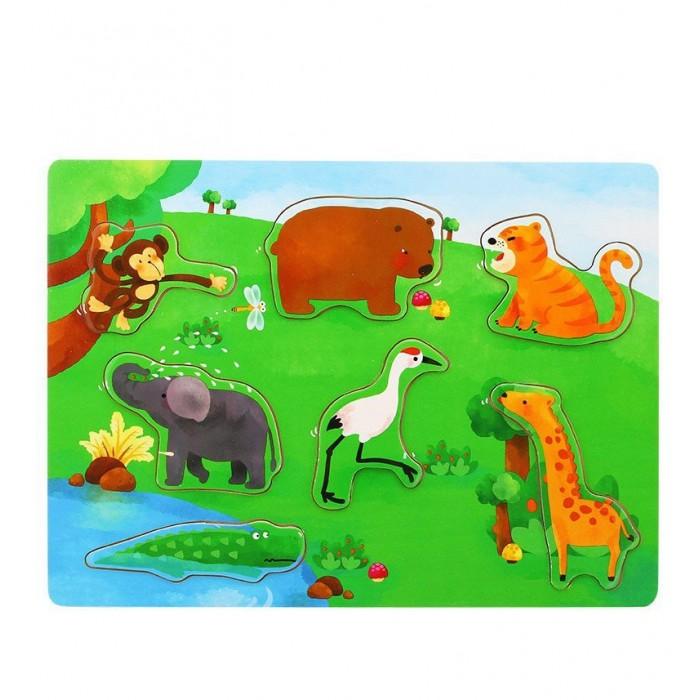 Деревянные игрушки Behno развивающий пазл Дикие животные дикие животные