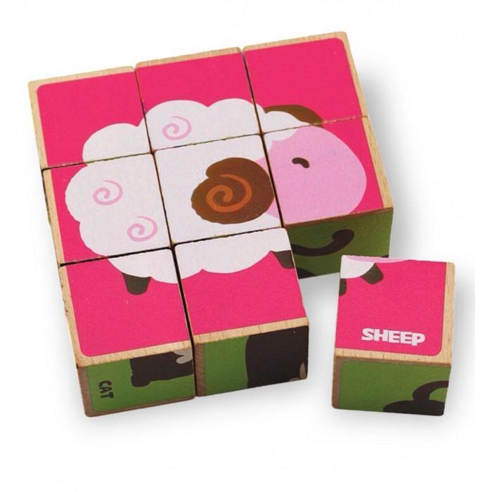 цены Деревянные игрушки Behno кубики пазл Домашние животные