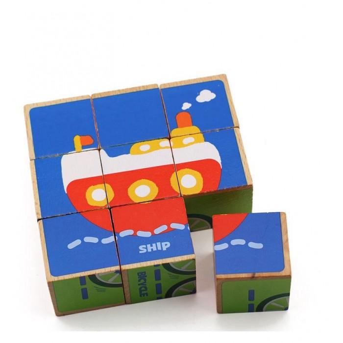 кубики Деревянные игрушки Behno кубики пазл Транспорт