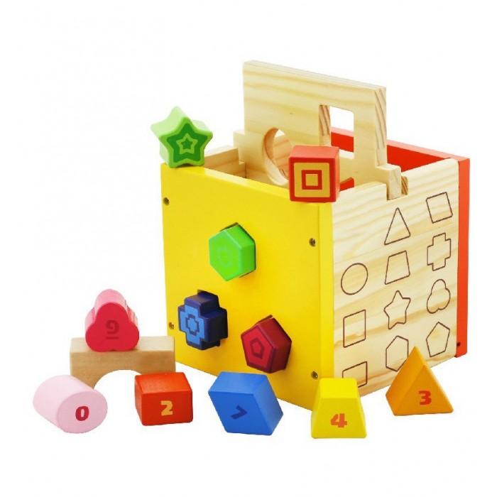 Деревянные игрушки Vulpi - wood куб-сортер сортер развивайка изучаем формы