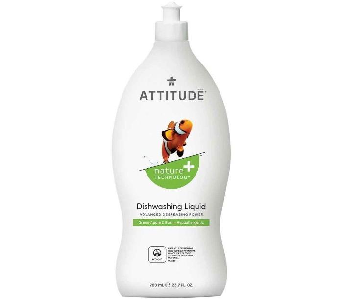 Бытовая химия Attitude Средство для мытья посуды Зеленое яблоко/Базилик 700 мл attitude средство для мытья посуды без запаха eco baby