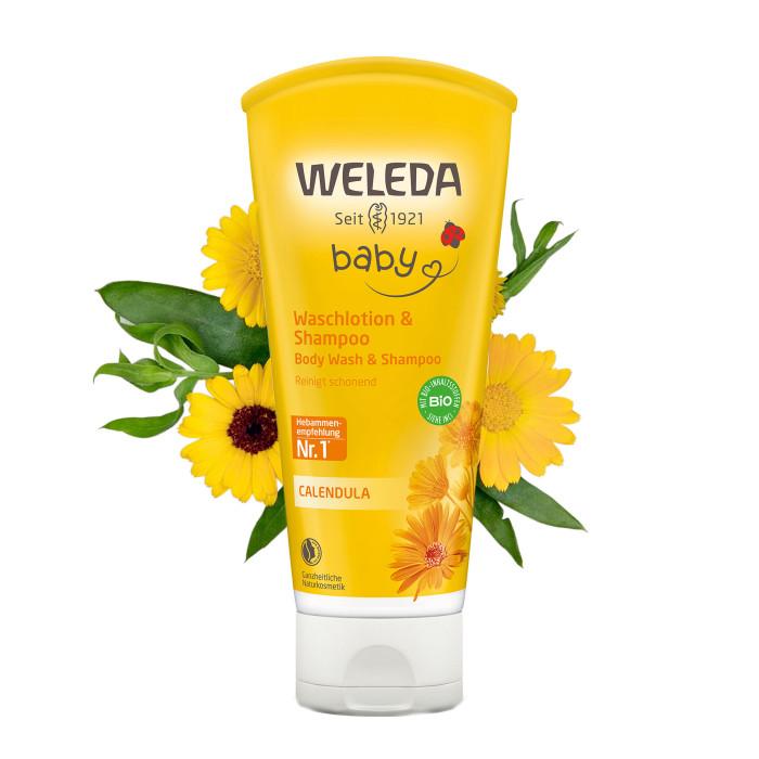Косметика для новорожденных Weleda Детский шампунь-гель с календулой для волос и тела 200 мл sante homme мужской шампунь гель для волос и тела 200 мл