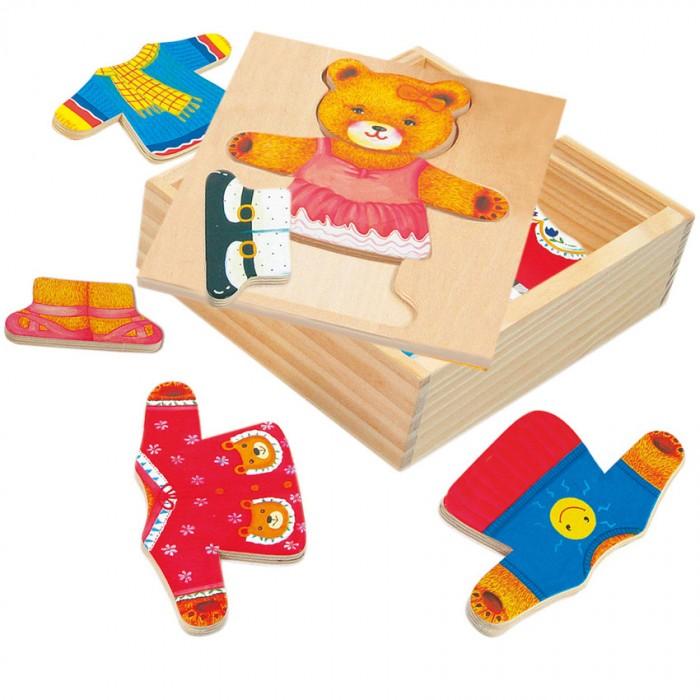 Деревянные игрушки Bino Пазл Гардероб медведицы bino железная дорога маленький крот