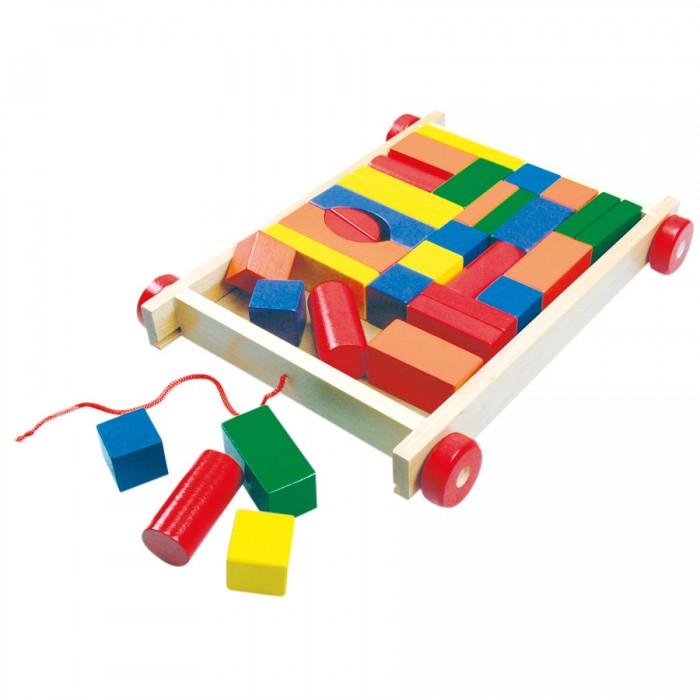 Деревянные игрушки Bino Тележка с разноцветными кубиками тележка для фляги в твери